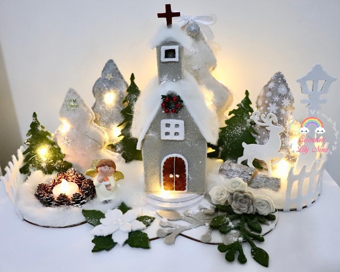 Villaggi Di Natale 2021.Villaggio Di Natale In Feltro Con Luci Paesaggi Fatti A Mano