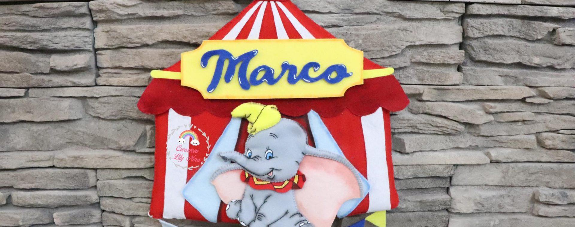 Fiocco Nascita Dumbo al circo fatto a mano