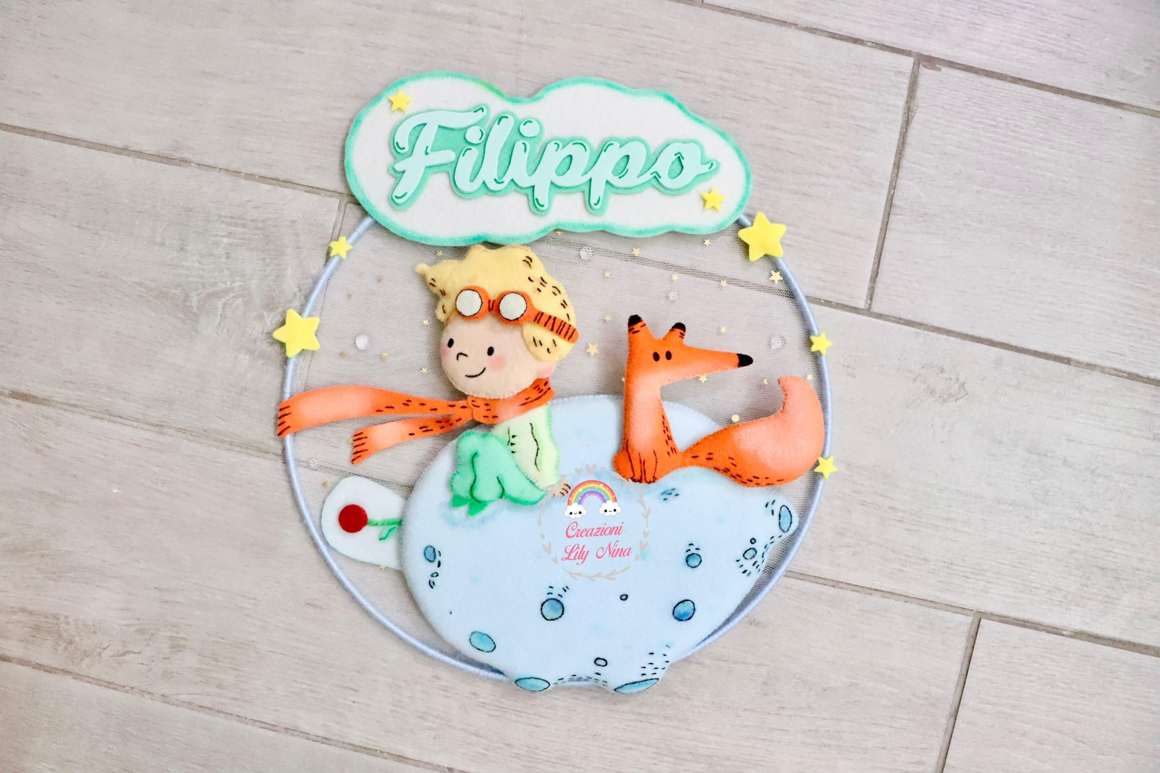 Fiocco nascita piccolo principe con nome Filippo