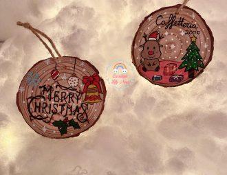 Addobbi, Ornamenti, dischetti legno dipinti a mano personalizzati