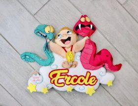 Fiocco Nascita a tema Baby Hercoles personalizzato con nome Ercole