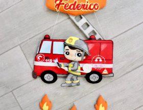 Fiocco nascita personalizzato a tema pompiere con nome Federico