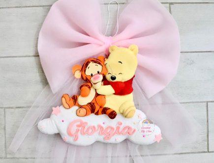 Fiocco nascita Winnie The Pooh in feltro pannolenci nome Giorgia