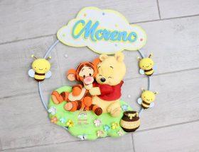 Fiocco nascita Winnie The Pooh e Tigro personalizzato con nome Moreno