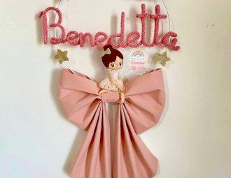 Fiocco nascita tricotin Ballerina con nome Benedetta