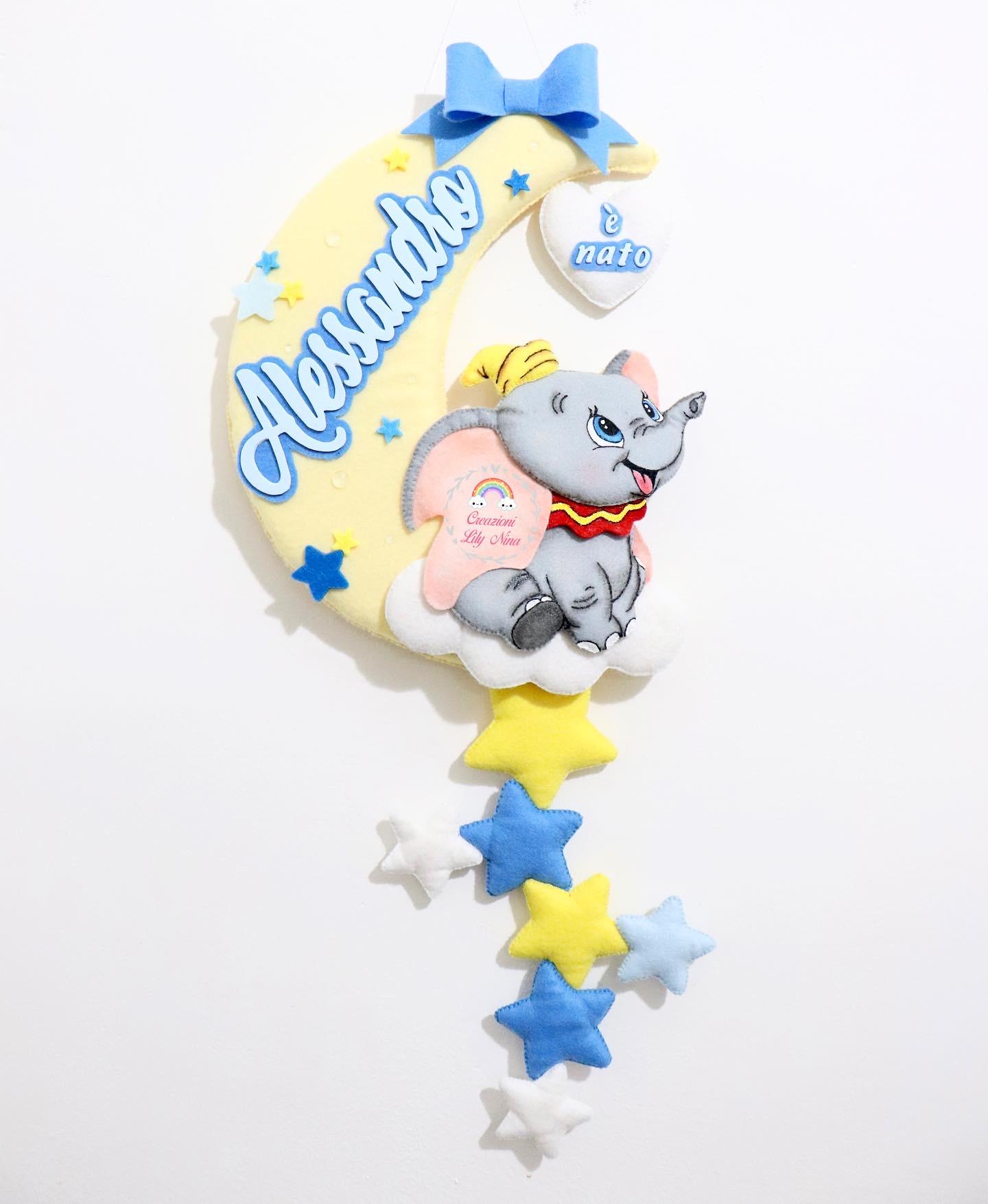 Fiocco nascita Dumbo personalizzato con nome Alessandro