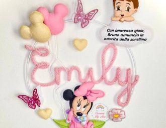 Fiocco nascita Minnie in tricotin con nome Emily
