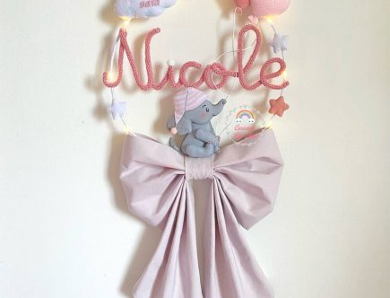 Fiocco nascita elefante in tricotin con nome Nicole