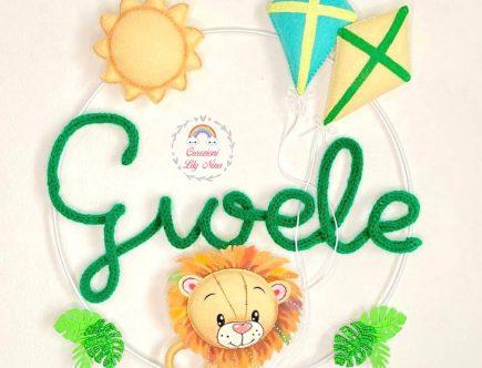 Fiocco nascita tricotin con leone nome Gioele