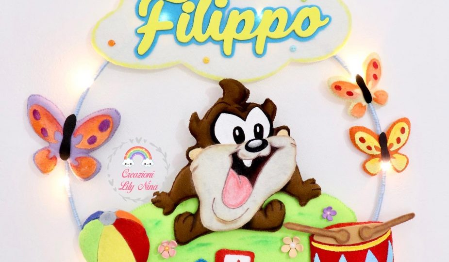 Fiocco nascita Tazmania dei Looney Tunes con nome Filippo