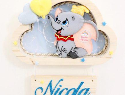 Mensola legno nuvola per cameretta bambini personalizzato con nome in feltro pannolenci