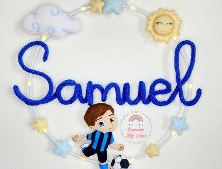 Fiocco nascita tricotin Inter con nome Samuel
