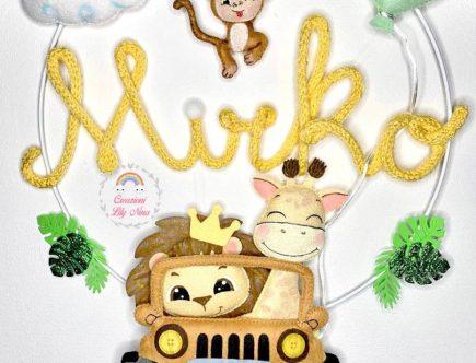 Fiocco nascita Safari con nome Mirko