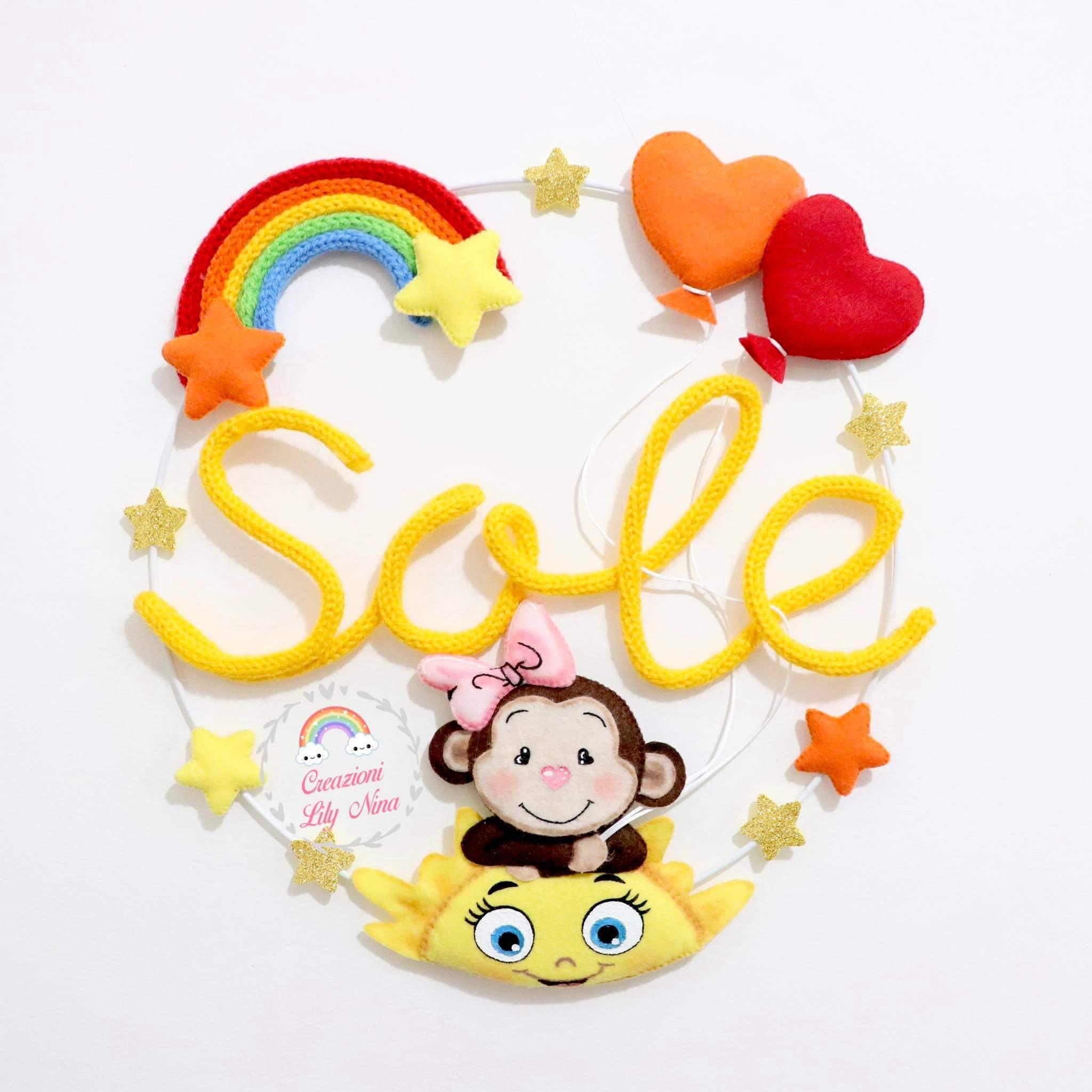 Fiocco nascita tricotin scimmia con nome Sole