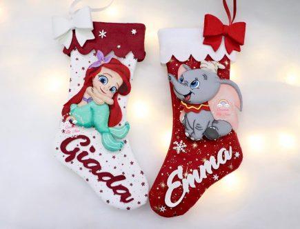 Calza natalizie Ariel Dumbo con nome