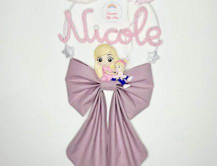 Fiocco nascita tricotin sorelle con nome Nicole