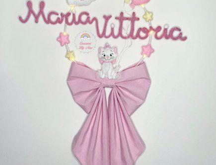 Fiocco nascita tricotin gattina Minou Aristogatti