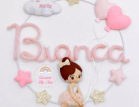 Fiocco nascita ballerina con nome Bianca