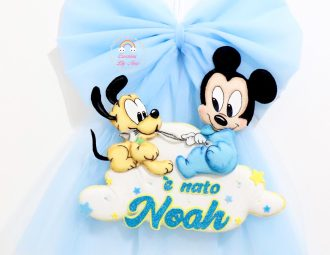 Fiocco nascita Topolino e Pluto baby con nome Noah
